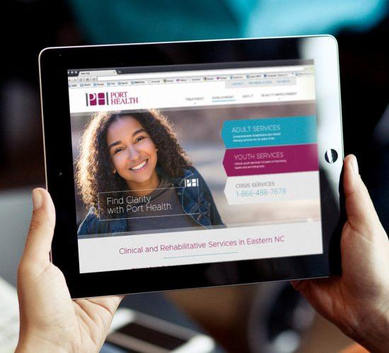 PORT Health website displayed on iPad